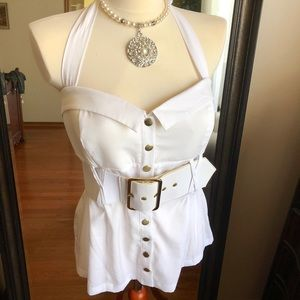 NWT* Pin Up 50s Rockabilly Belted White Top
